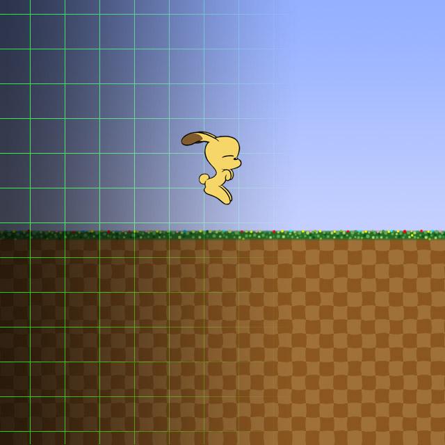 座標系ゲーム画面を飛ぶうさ犬