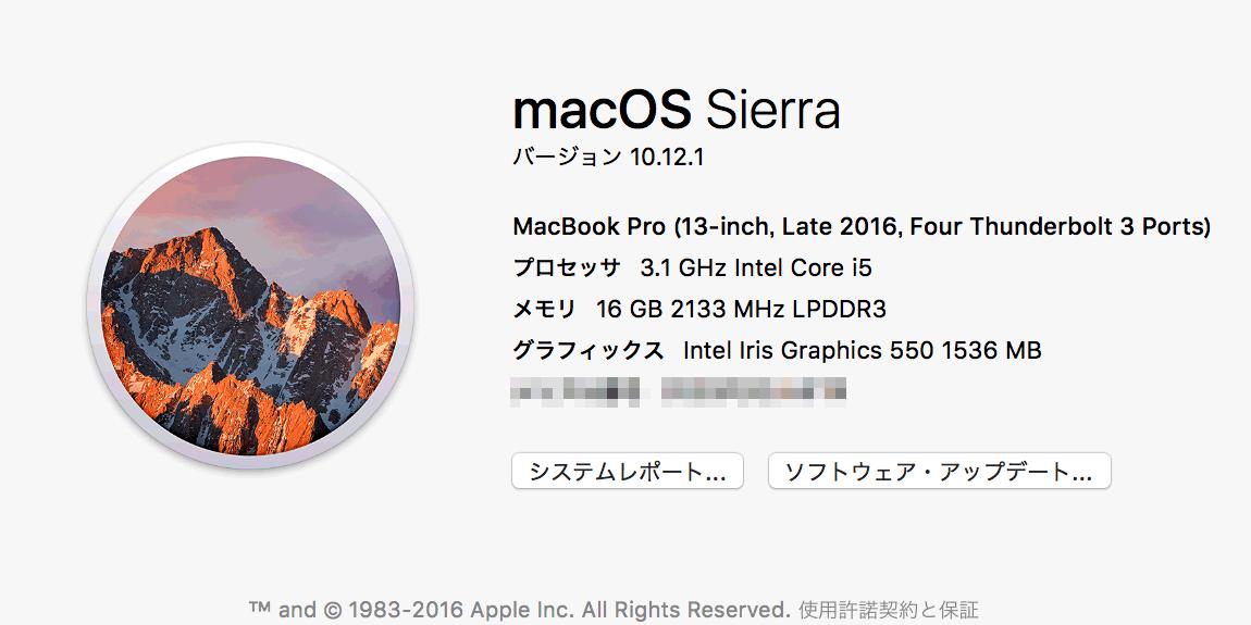 初期設定後のMacBook Proの概要表示