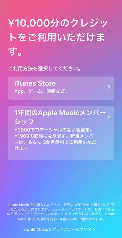 購入コードの適用選択画面